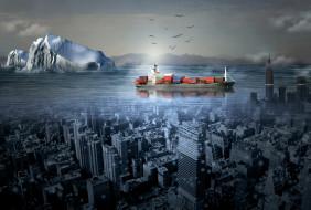 разное, компьютерный дизайн, море, корабль, город