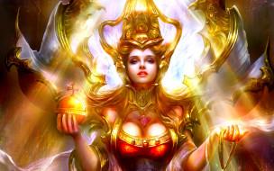 Девушка, золото, свет, колдовство, царица, магия, трон, лицо