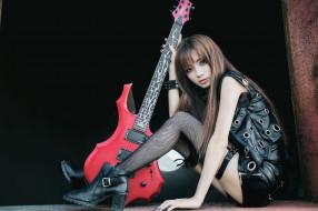 лицо, девушка, стиль, гитара