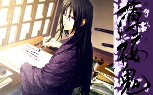 аниме, hakuouki, парень, каллиграфия, письмо, shinsengumi, kitan