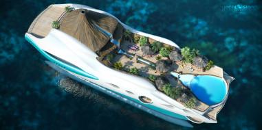 Yacht-island, Futuristic, tip 2, яхта-остров, gesign, superyacht, проект