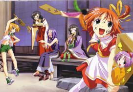 аниме, raimuiro senkitan, девочки, дом, двор, женщина, радость, ступенька