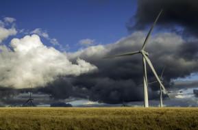 разное, мельницы, ветряки, облака