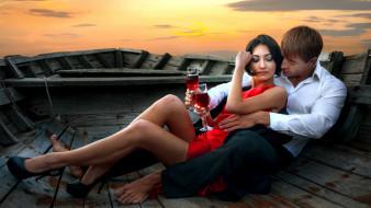 разное, мужчина женщина, лодка, бокалы, вино, влюбленные, закат