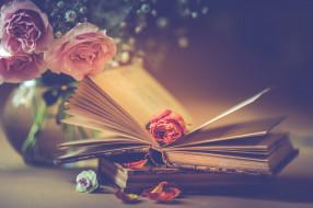 разное, канцелярия,  книги, розы, букет, лепестки, книги, стиль, цветы, бутон