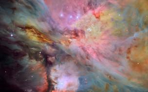 M 42, Туманность Ориона, светящаяся эмиссионная туманность, космос, звезды, Мессье 42
