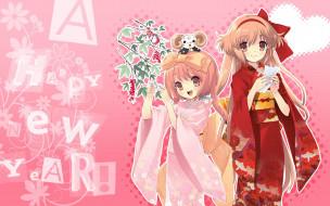 аниме, nanatsuiro drops, кимоно, дерево, девочки