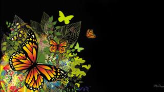 векторная графика, животные , animals, листья, бабочки
