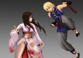 аниме, tekken,  blood vengeance, фон, девушки, кимоно, взгляд