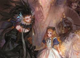 аниме, alice in wonderland, white, datura