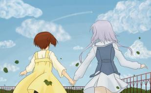 аниме, sola, облака, небо, дружба, девочки