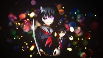аниме, busou shoujo machiavellianism, фон, взгляд, девушка