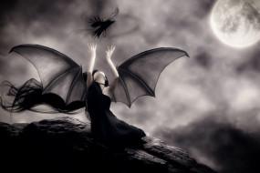 фэнтези, демоны, крылья, фон, ворон, девушка