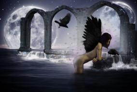 фэнтези, фотоарт, фон, крылья, девушка, вода, ворон, луна