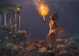 фэнтези, магия, девушка, шар, фон