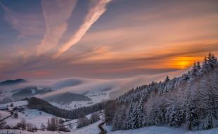 природа, зима, рассвет