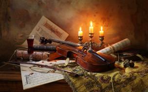 ноты, бокал, вино, свечи, книги, скрипка