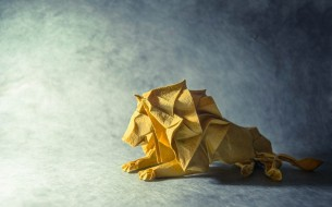 лев, оригами