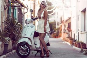 обои для рабочего стола 2048x1367 мотоциклы, мото с девушкой, lea, benattia