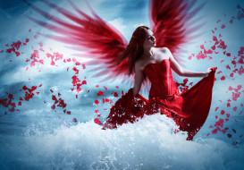 фэнтези, фотоарт, фон, волна, девушка, крылья, платье