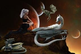 фэнтези, красавицы и чудовища, девушка, планета, фон, драконы