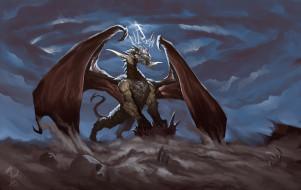 фэнтези, драконы, дракон, тучи, кости, пустыня