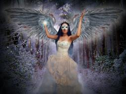 фэнтези, ангелы, платье, крылья, девушка, фон, маска