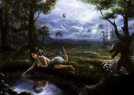 фэнтези, красавицы и чудовища, иной, мир, девушка, монстр, лес, озеро