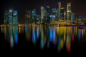 singapore, города, сингапур , сингапур, ночь, небоскребы, панорама
