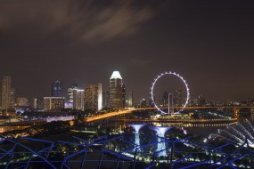 singapore flyer, города, сингапур , сингапур, огни, ночь