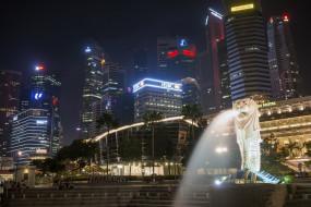 singapore merlion, города, сингапур , сингапур, ночь, огни