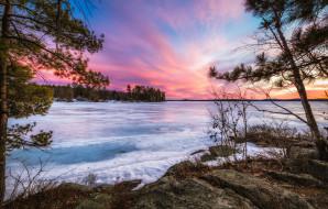 природа, зима, lake, winnipesaukee, нью-гемпшир, новая, англия, закат