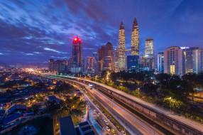 города, куала-лумпур , малайзия, куала-лумпур, иллюминация, ночь, город