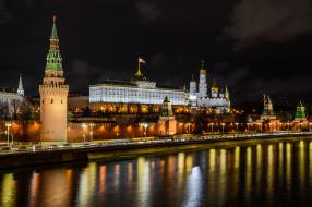 города, москва , россия, ночь, огни