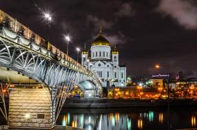 города, москва , россия, огни, ночь