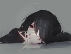 аниме, another, дипрессия, иная, серый, фон, скука, повязка, на, глаз, misaki, mei, одиночество, красные, глаза