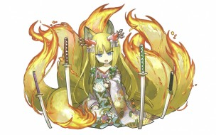 аниме, puzzle & dragons, ушки, сидит, кимоно, белый, фон, девочка, game, fox, girl, puzzle, and, dragons, хвосты, катаны