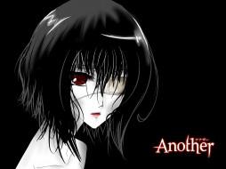 аниме, another, повязка, на, глаз, пустота, misaki, mei, иная, красные, глаза, черный, фон, одиночество