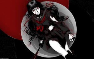 аниме, blood-c, катана, kisaragi, saya, красные, глаза, крутая, пятна, кулак, рваная, одежда, кровь, злость, тьма