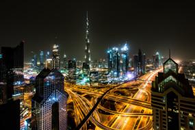burj khalifa, города, дубай , оаэ, ночь, огни