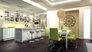 интерьер, кухня, стулья, часы, люстра, стол, холодильник