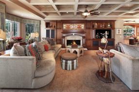 интерьер, гостиная, уют, диван, камин