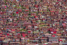 города, - панорамы, гардзе-тибетский, автономный, округ, провинции, сычуань, город, домики, larung, gar, китай