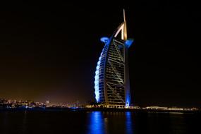 burj al arab at night, города, дубай , оаэ, парус, отель