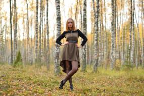 девушка в осеннем лесу, девушки, -unsort , рыжеволосые и другие, осень, лес, девушка