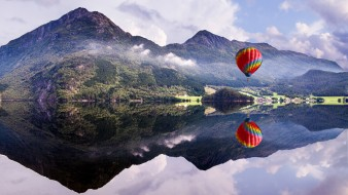 авиация, воздушные шары, отражение, река, горы, полет