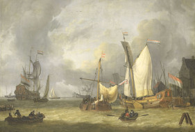 рисованное, живопись, масло, jan, claesz, rietschoof, морской, пейзаж, холст, парус, картина, свежий, ветер, корабли, в, гавани