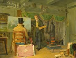 рисованное, живопись, холст, интерьер, картина, масло, энтони, оберман, художник, в, своей, студии