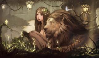 обои для рабочего стола 2035x1200 фэнтези, красавицы, чудовища, девочка, лев