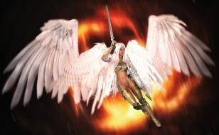 3д графика, ангел , angel, ангел, девушка, взгляд, фон